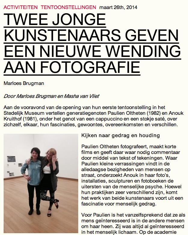 read dutch conversation between curator assistant masha van vliet, paulien oltheten and myself about our exhibitions at STEDELIJK museum Amsterdam  HERE