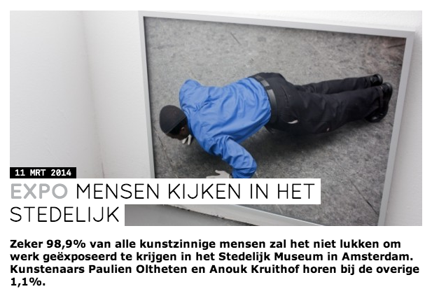 only in Dutch: CJP a magazine for youngsters, which I always also red when I was young wrote something on their blog, just before the opening of my exhibition 'Paulien Oltheten and Anouk Kruithof' at Stedelijk Museum Amsterdam   check it out  here