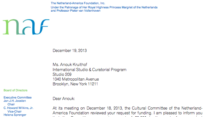received a grant to develope new work during my stay in New York.   from the foundation:  NAF