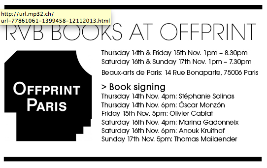 book signing at  OFFPRINT  paris on saturday november 16th at 6 PM