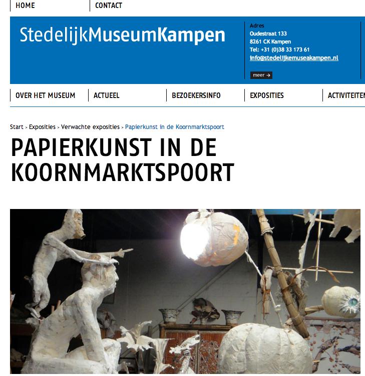 groupexhibition 'PAPIERKUNST' at Stedelijk Museum Kampen NL