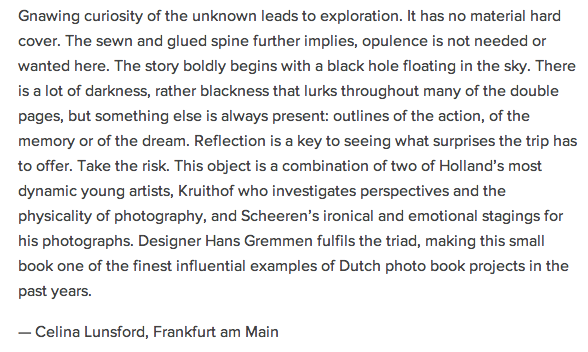 In April 2006 Jaap Scheeren my book 'The black hole' came out, almost 7 years later Celina Lunsford posted this about the book.    http://album-magazin.de/anouk-kruithof-jaap-scheeren-the-black-hole