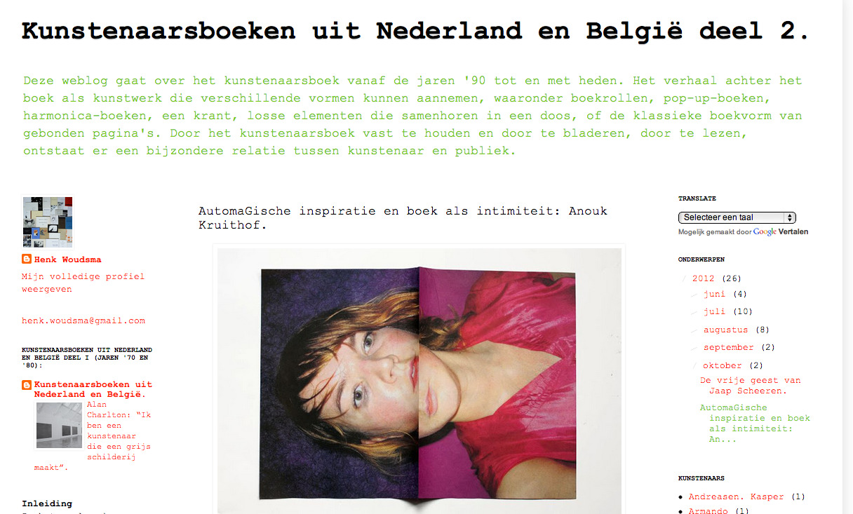 extensive text/interview in Dutch about my books and love for bookmaking by                    Henk Woudsma    read it here