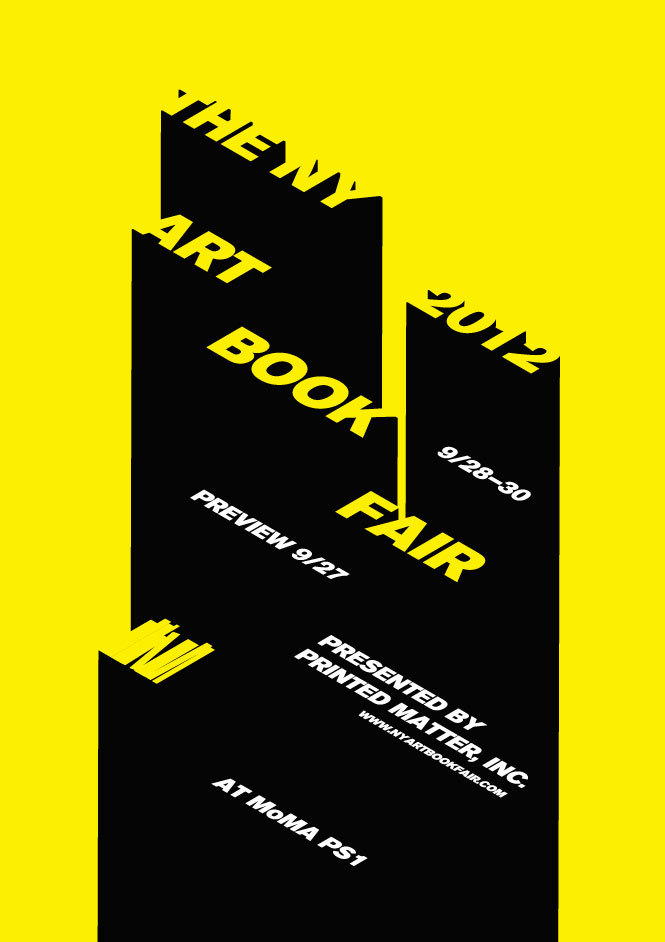 """NYC artboookfair at MOMA PS1    with 2 videos I participate in   The Classroom, which is acurated series of informal conversations, workshops, readings, and other artist-led programs, with continuous enrollment for all fair-goers throughout the weekend. The Classroom is organized by David Senior, Museum of Modern Art Library.    All Classroom sessions take place in Gallery W, on the second floor nearby stair D.    7:00 pm Book as Performance  Viewing party for """"2013,"""" by Justin James Reed, released earlier this year. The book utilizes ink that can only be viewed under ultra violet light and was created with performative experience and communal viewings in mind. This program will include a video performance of the book by Anouk Kruitof and a live group viewing of the book in complete darkness. Presented by Horses Think Press.   7:30 pm Anouk Kruithof, Enclosed Content Chatting Away in the Colour Invisibility   Screening of a video that documents Dutch artist Anouk Kruithof's installation of roughly 3,500 found Eastern European books written under communism, which have been exhibited throughout Europe since 2009. The books were used to construct a wall, with their colours and sizes determining its rhythm."""