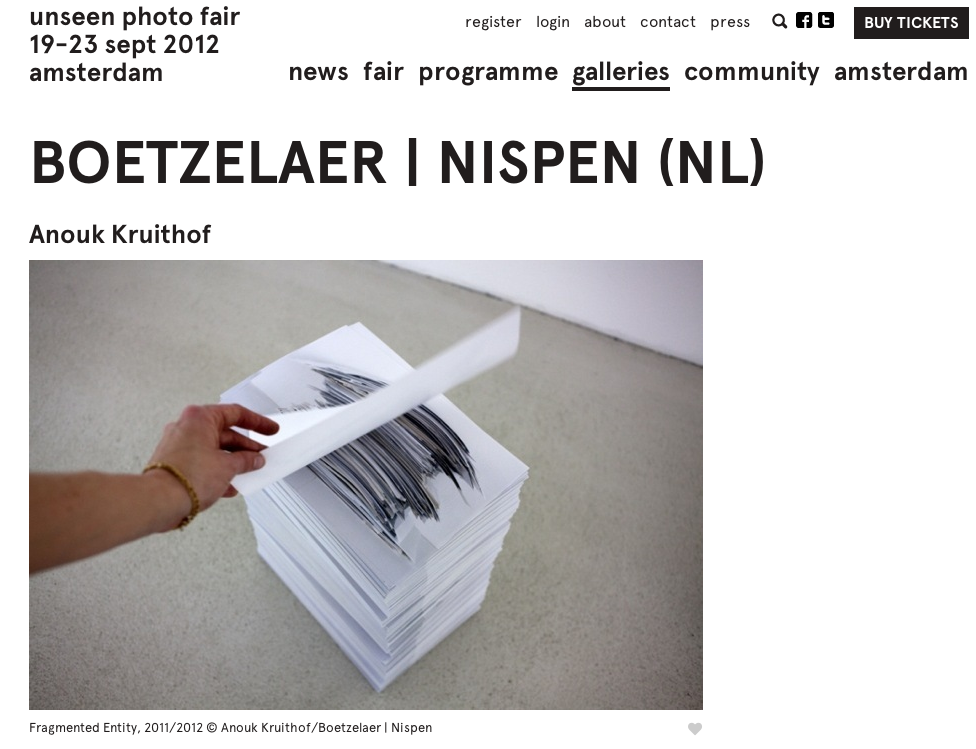 During  UNSEEN PHOTO FAIR  in Amsterdam   I will show my spatial installation WALL OF FADING MEMORY  together with 'never ending pile of a past, parts of my project  'fragmented entity'  and the edition  'fragmented memory'    In collaboration with  Boetzelaer I Nispen gallery London/Amsterdam