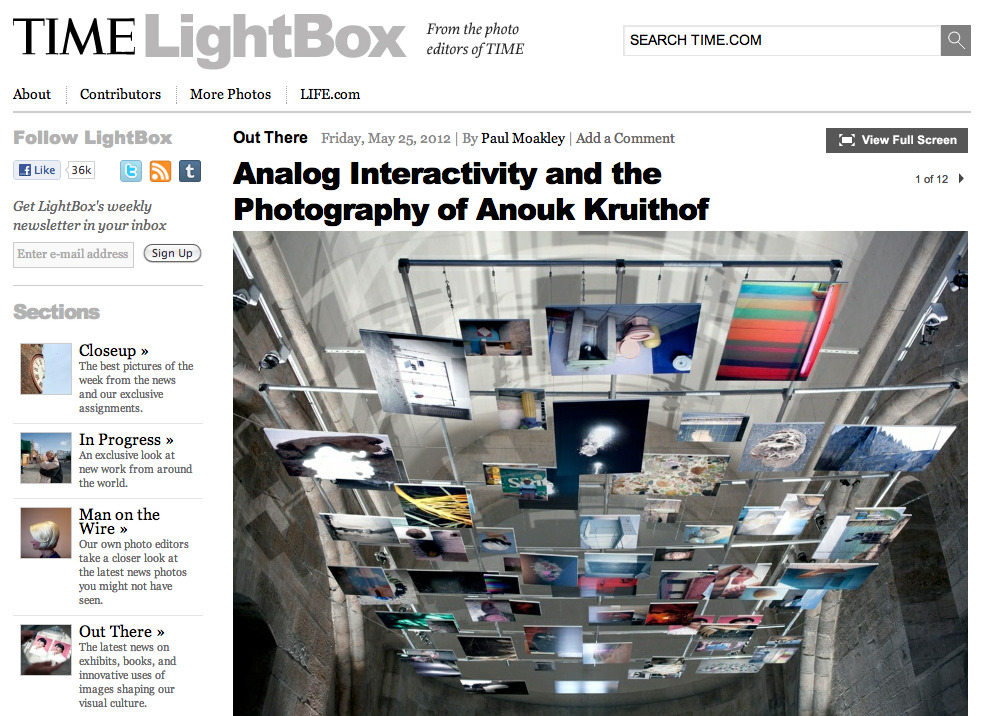 review by Paul Moakley, editor of TIME magazine New York:     'analogue interactivity and the photography of Anouk Kruithof'