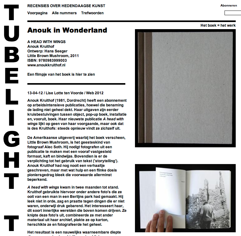 REVIEW about my artistbook A HEAD WITH WINGS  by Lise Lotte ten Voorde on TUBELIGHT    check it out