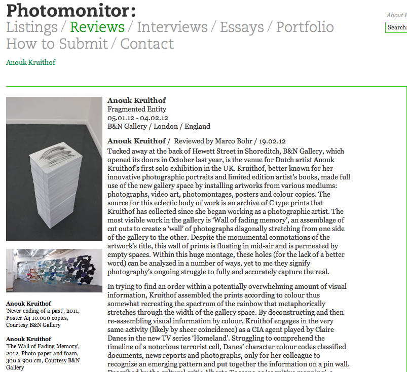 review about the exhibition 'Fragmented Entity' by Marco Bohr on Photomonitor.