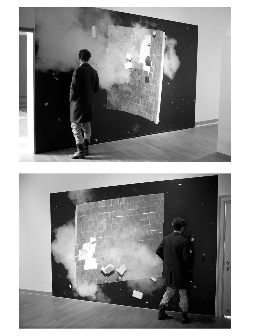 (official) my new work in FOAM Amsterdam. Der Ausbruch einer flexiblen Wand (weich und hart) 400-300 cm bw wallpaper dyptich