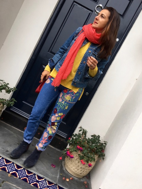 Here are am for school run. Working my jeans with navy chelsea boots and a denim jacket and pops of yellow and red.