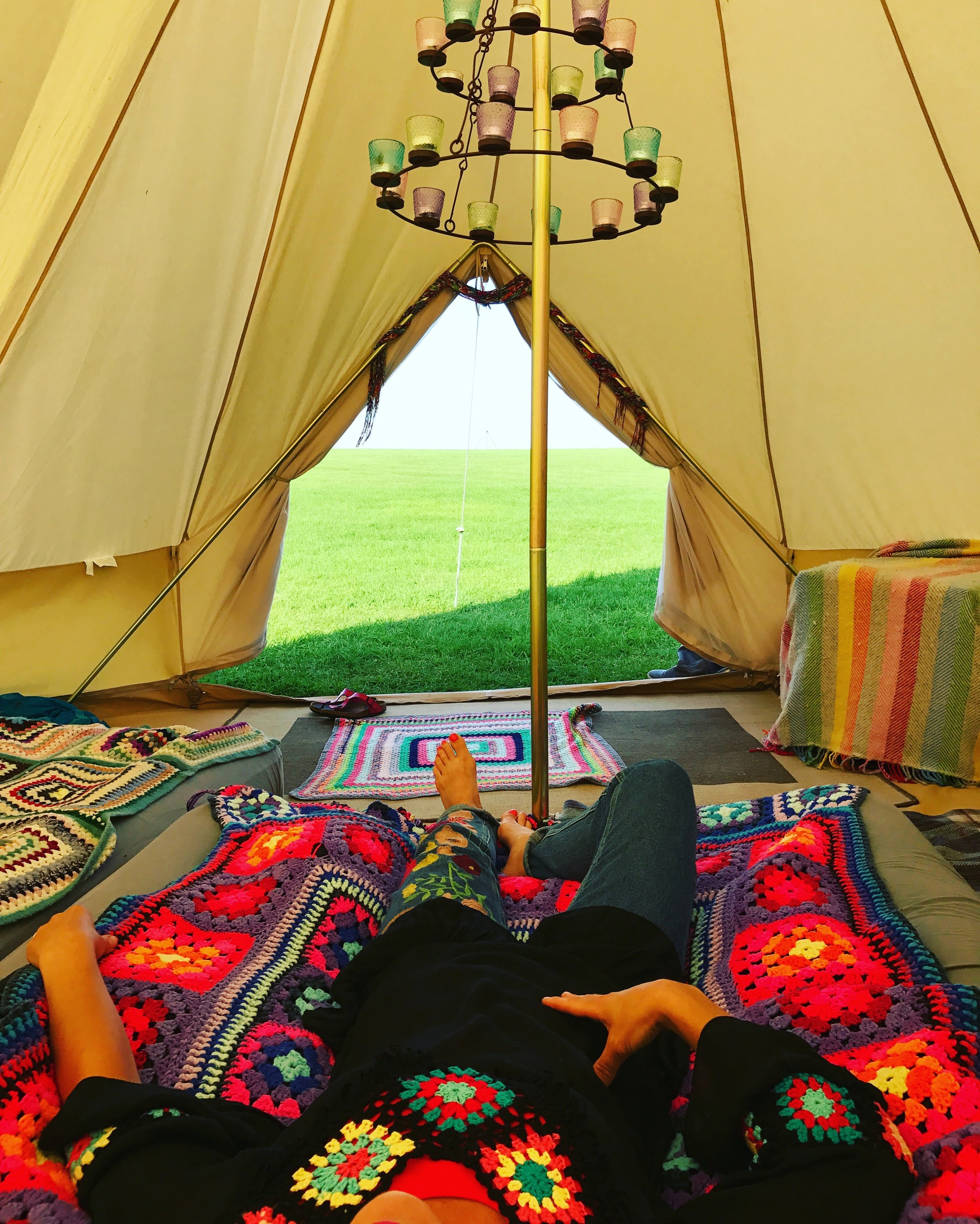 Camping with Soul  - I love my bell tent and I've buying vintage crochet blankets for years.