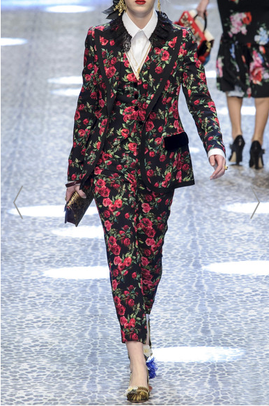 Dolce & Gabbana  velvet trimmed floral trouser suit worn with white and flats. £2050 for the jacket alone