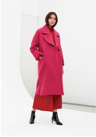 Jigsaw Luz Wool Round Lapel Coat £360