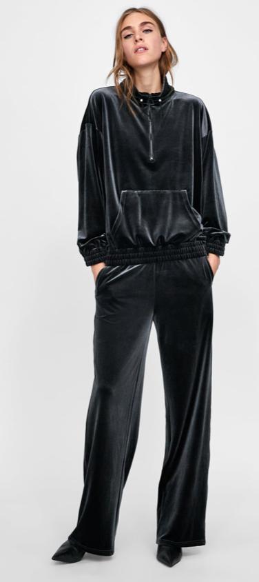 Zara Velvet sweatshirt £25.99 & Joggers £25.99