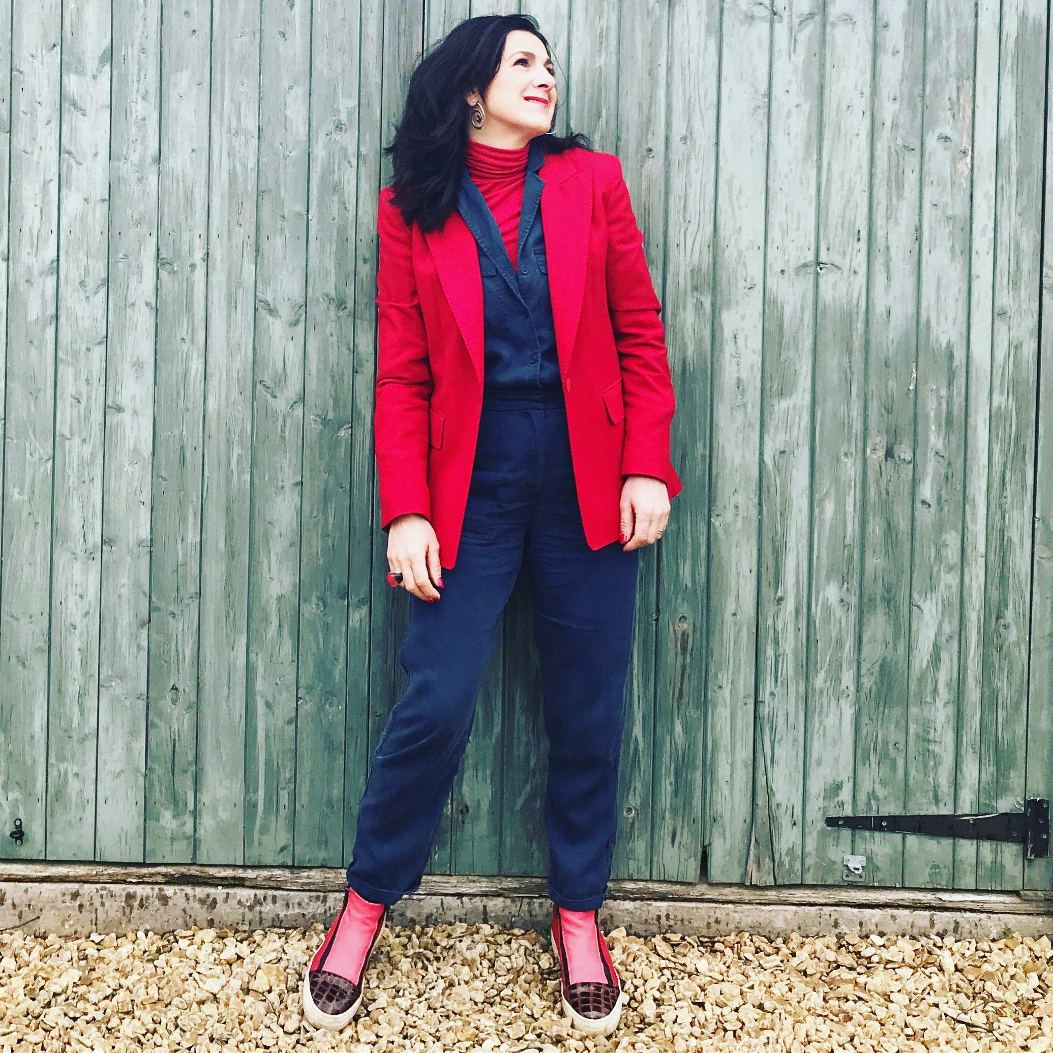 January 2019 given a sharp edge with bright red blazer and boots for work meetings,