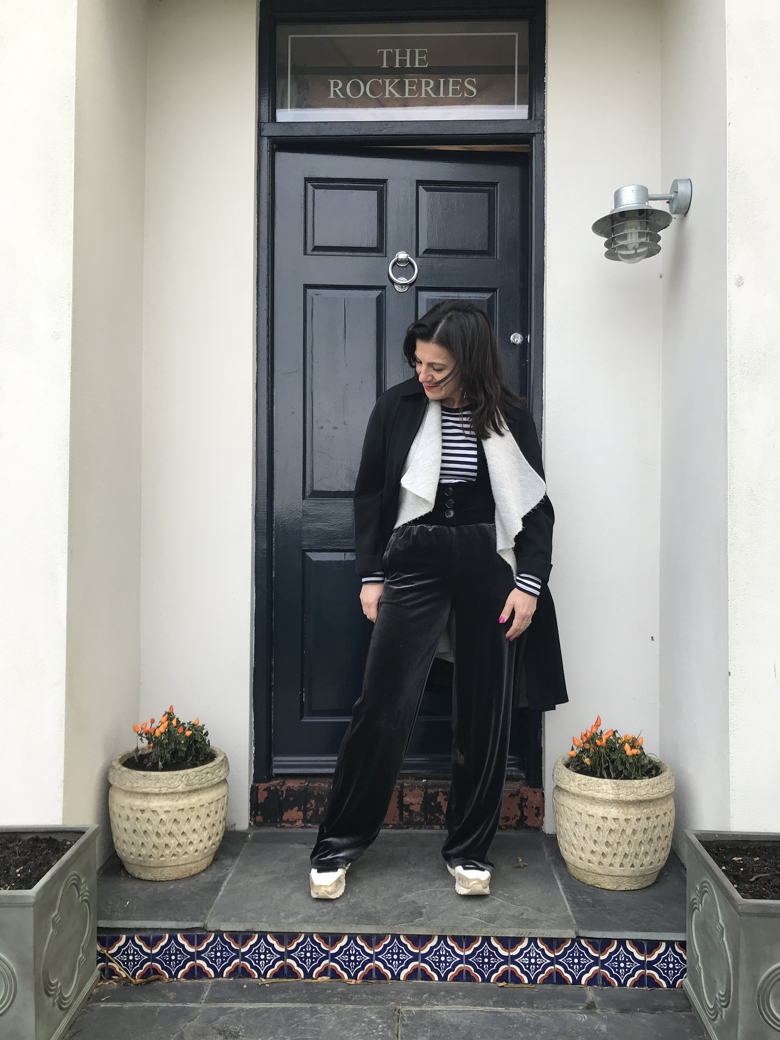 For the outfit I'm wearing velvet tracksuit bottoms, keeping the colours monochrome but playing with texture and adding a velvet fitted waistcoat.