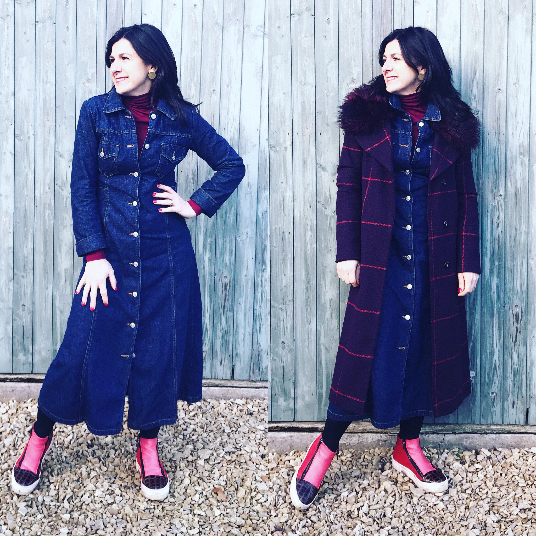 This vintage denim dress acts as a dress in the winter (with a polo neck, tights and checked coat which sits perfectly over the top as the same length.