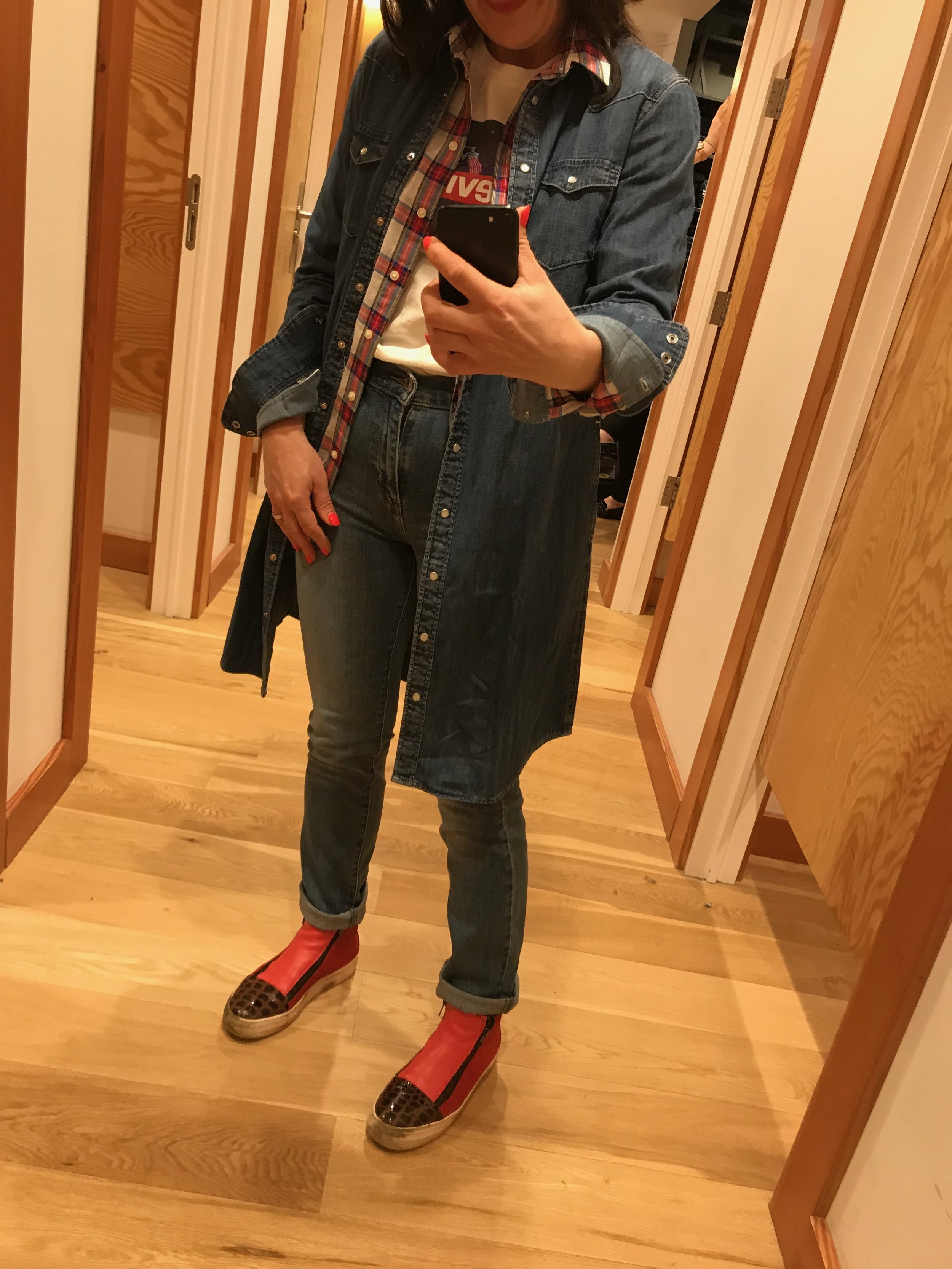T Shirt / Denim Dress / 727 jeans / Checked shirt