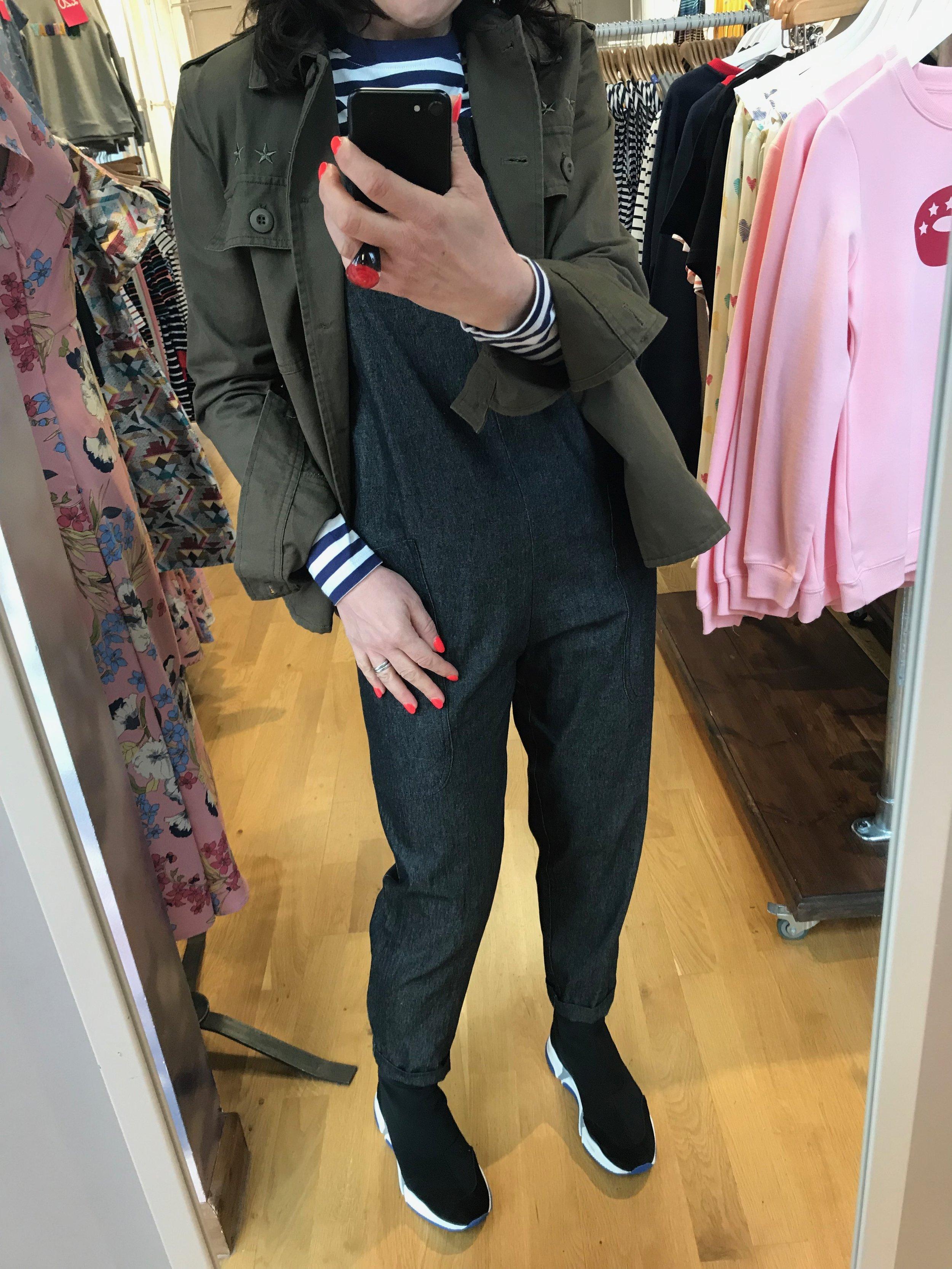 Rowan Apron Dungarees / Brunswik Breton Stripe  Khaki Shirt