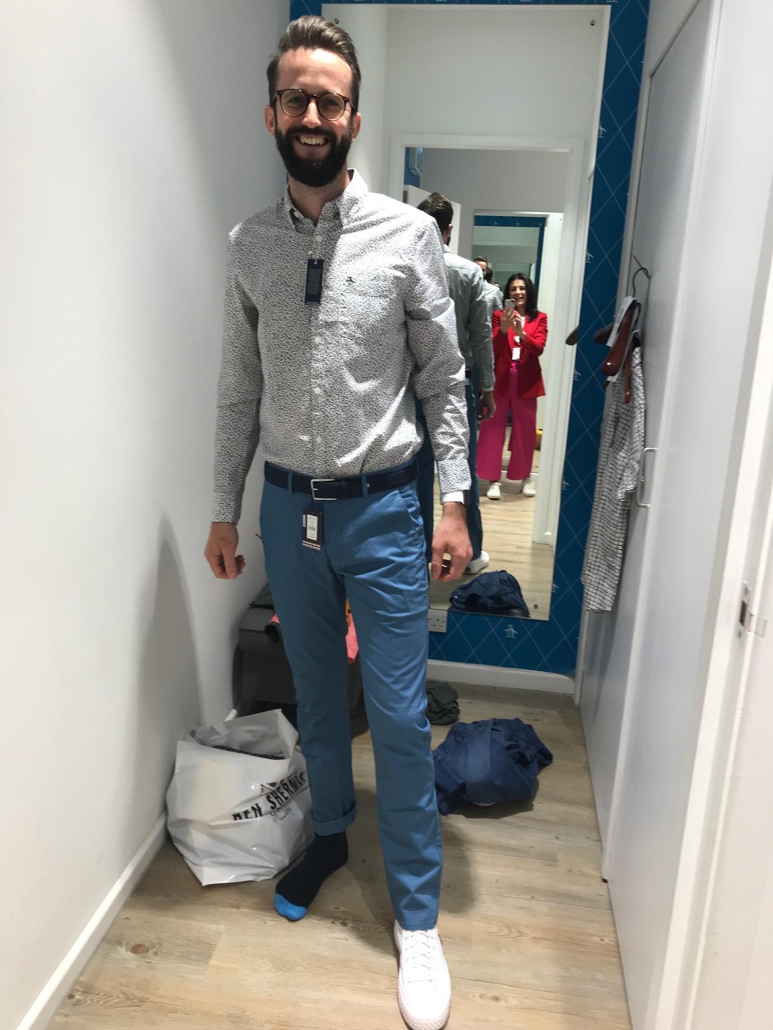 Blue chinos and shirt Penguin. Belt Ben Sherman.