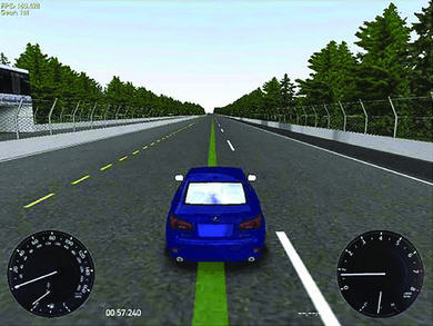 Simulated driving task used to study the effect of blue-enriched white light on arousal and driving performance.