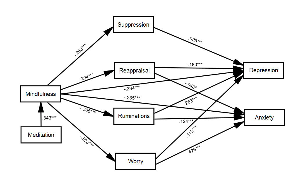 Direct and indirect relationships between mindfulness and depression/anxiety, taking into account the meditating role of emotional regulation (cognitive reappraisal and emotive suppression), rumination and worry. Numbers represent the standardized path coefficients. * p<.05, ** p<.01, *** p<.001