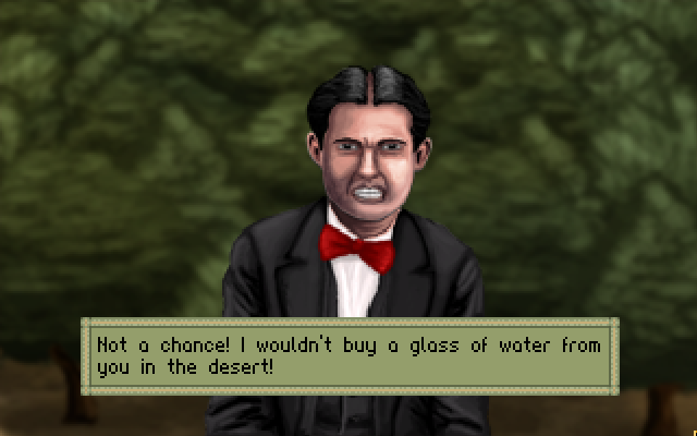 One of the characters I voice in A Golden Wake! Don't listen to this guy and buy the game!