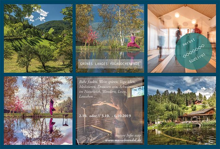 Unsere Base werden wir im schönen Saalerwirt haben. Er wurde gerade ausgezeichnet zu einer der schönsten Yogalocations!    Yoga üben . Leben . Zeit für dich . Wandern . Schwimmen . Meditieren . …    Das Retreat findet von 3. - 6.10.2019 statt. Du kannst aber bereits am 2.10. anreisen. Der 3.10. ist in Deutschland ein Feiertag. Und vielleicht musst du dir dadurch einen Tag weniger Urlaub nehmen? Stattdessen genießt du den goldenen Herbst schon ab Mittwoch :) Ich werde auch schon da sein!    273€ im DZ inkl Halbpension (für 3 Nächte)    364 € im DZ inkl Halbpension (für 4 Nächte)      Hinzu kommen pauschal 250€ für Yoga & Meditation.    Wir werden morgens 1,5 - 2 Stunden dynamisch und kräftigend Yoga üben. Mein Stil zeichnet sich dadurch aus, dass wir mal langsam, mal schneller von einer Asana in die nächste fließen. Zu Beginn der Stunde haben wir Zeit um anzukommen, uns zu verbinden und unseren Atem tiefer zu führen. Ausklingen lassen wir die Praxis immer mit einer langen Entspannung.    Die abendlichen Stunden gestalten sich ganz ruhig. Neben meiner Ausbildung als Yogalehrerin im Yoga Flow habe ich mich tief in den Zauber des Yin Yoga eingearbeitet. Dieses Wissen und vorallem die wohltuende Wirkung des Yin Yoga wird dir in den Stunden die am späten Nachmittag stattfinden zuteil.    Es wird insgesamt 6 Yoga- und Meditationseinheiten geben.    Dazwischen hast du Zeit zum Wandern (gerne in der Gruppe) oder deine freien Stunden am Teich, in den umliegenden Wäldern, in der Sauna … zu verbringen.    Ich freue mich auf dich und auf diese Auszeit im schönen Südtirol!    Deine Marie