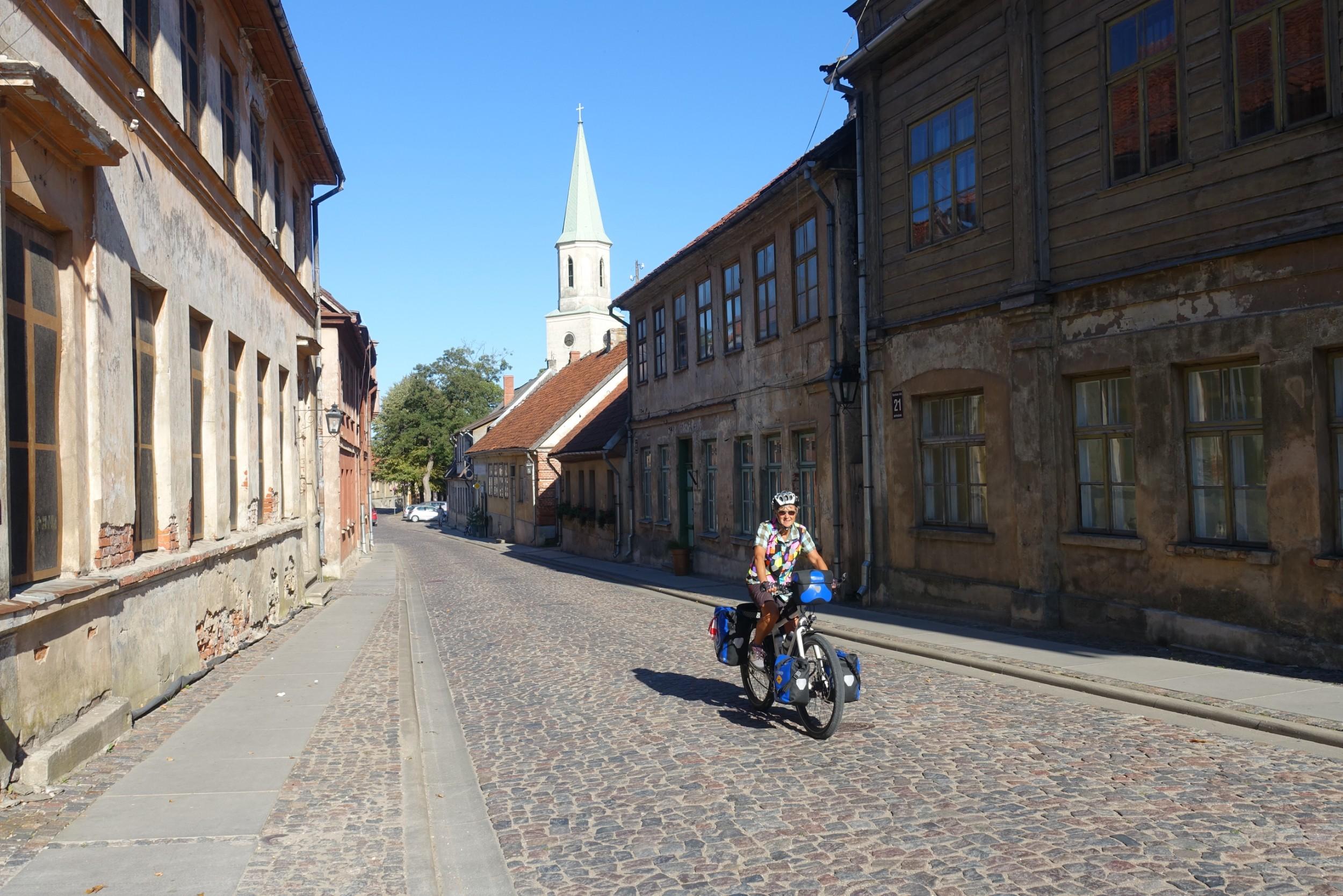 Riding into Kuldiga