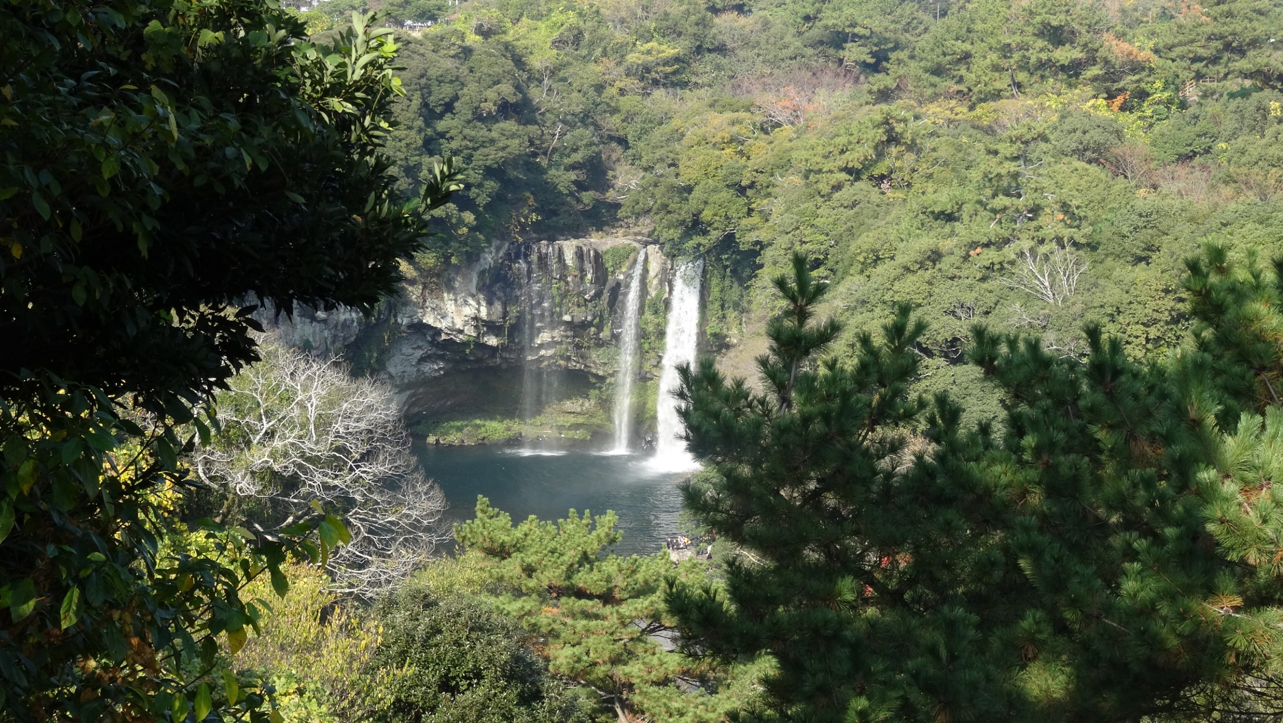 One section of the Cheonjeyeon Waterfall