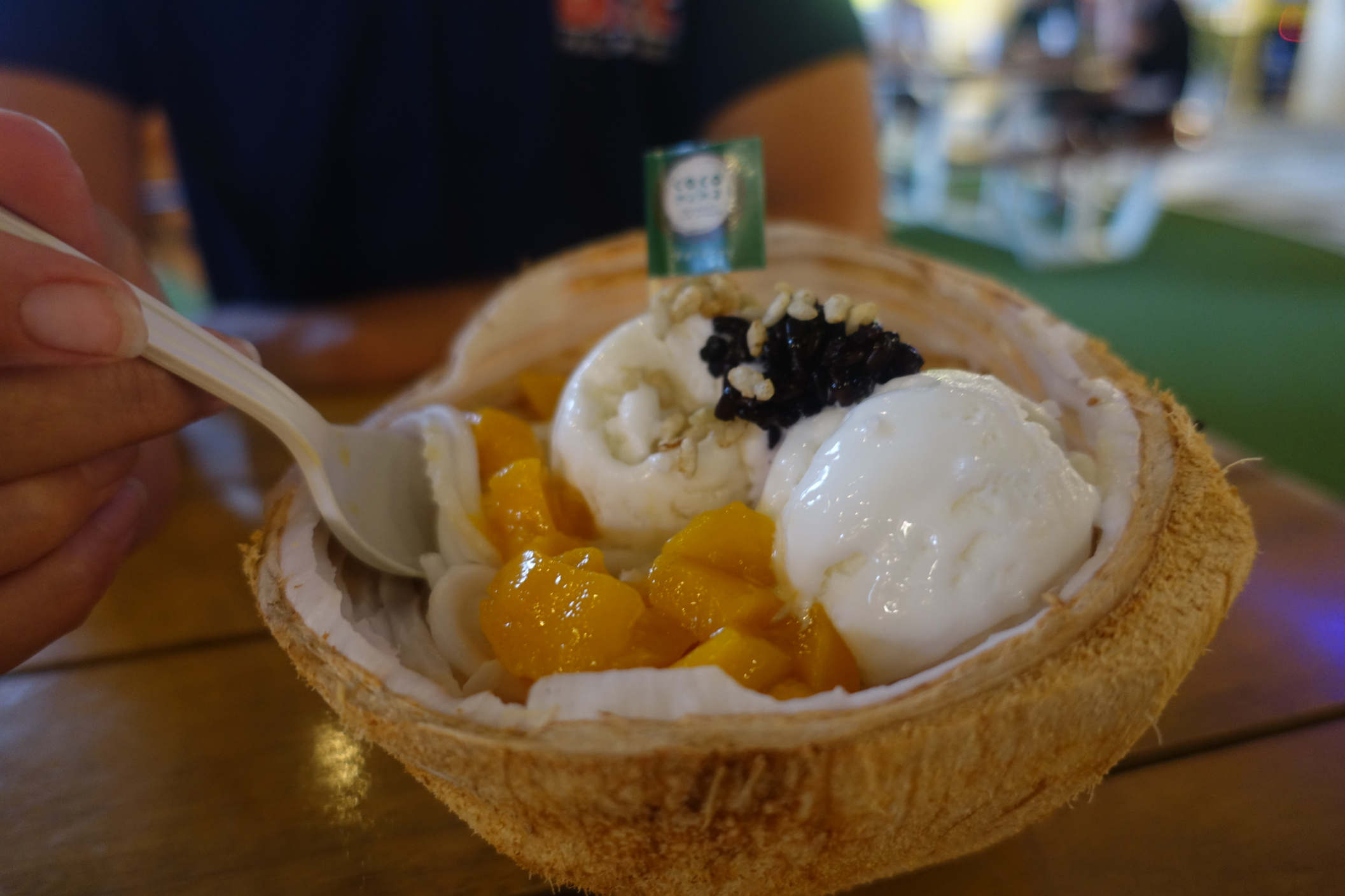 Our favourite treat; fresh jel-like coconut flesh, scrapped off the shell, topped with mango, coconut ice-cream and black sesame seeds. We queued for one hour to get one on our last day!