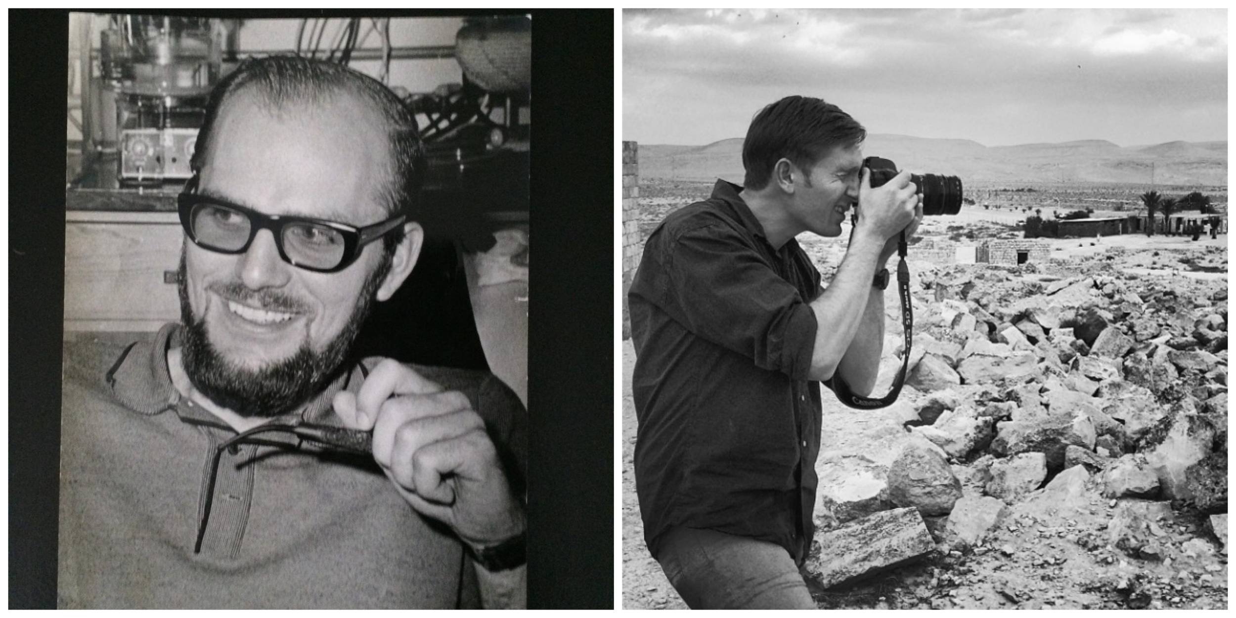 Horst Witzke, circa 1966, studying in West Germany.           Adrian Witzke, 2014, filming In Israel.