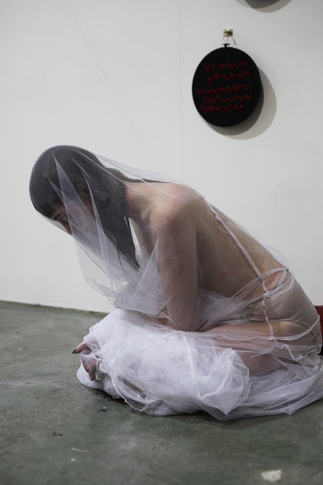 Stage Three  - To adjust to an environment in which the deceased is missing.   Live performance  Photo by Jessica Eva  Statement;  click here