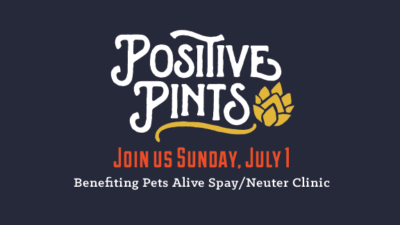 Let's raise a glass (and raise some money) for a great organization! Join us in the taproom on Sunday, July 1 between 2-5 PM and a dollar from every pint sold will benefit the work of Pets Alive Non-Profit Spay / Neuter Clinic.  About Pets Alive:  Pets Alive provides the compassionate solution to end the unnecessary euthanasia of cats and dogs by offering affordable, high-quality spay/neuter services. Pets Alive improves the health and well-being of cats and dogs by partnering with the animal welfare community to provide life-saving programs and compassionate solutions to pet overpopulation.  About Switchyard Brewing Positive Pints: Switchyard provides an opportunity to local nonprofits to raise awareness and fundraise in the taproom. Positive Pints takes place every Sunday in the Switchyard taproom; from 2-5 p.m. One dollar from every pint sold will be donated back to that month's organization. To inquire about our community projects, or to get your organization on our calendar, visit  http://www.switchyardbrewing.com/community   Facebook Event: https://www.facebook.com/events/614995542184197/