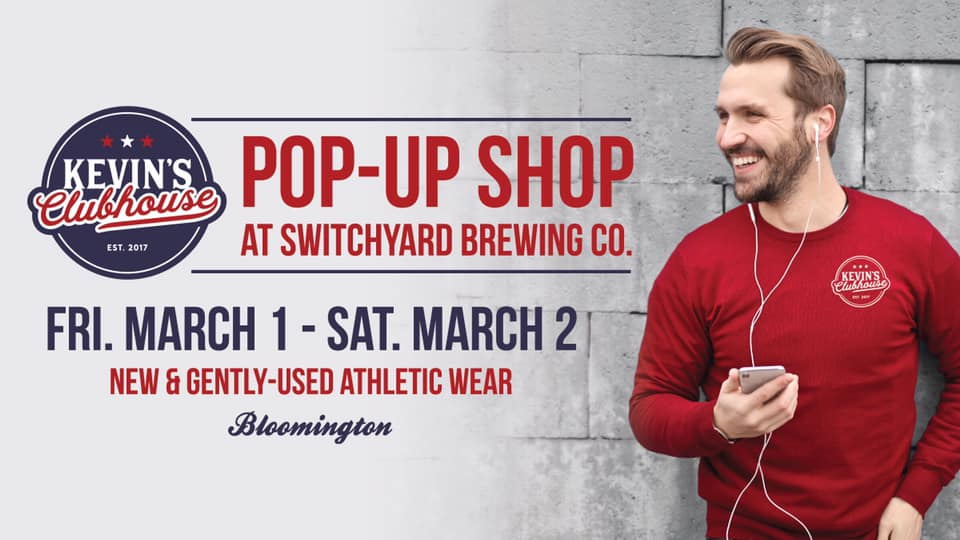 Join Kevin's clubhouse for our first ever pop-up shop at Switchyard Brewing Co. in Downtown Bloomington, Indiana! We will be bringing all of our best brand new and gently-used items as well as some amazing vintage and retro wear. And for the Hoosier fans of Bloomington, we will have a large collection of IU gear! All of our items are 100% authentic from brands like Nike, Adidas, Under Armour, Footjoy, Majestic and much more! To see a sample of our collection, follow us on Facebook and Instagram at @kevinsclubhouse. Full collection on eBay at  kevinsclubhouse.com