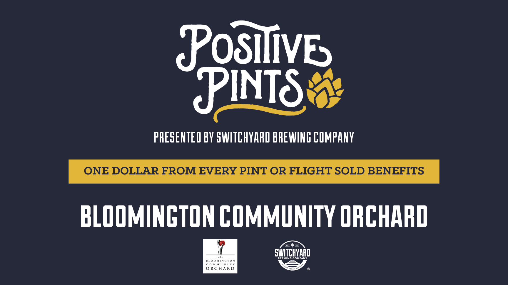 Let's raise a glass (and raise some money) for a great organization! $1 from every pint or flight sold between 2-5 PM will go towards  Bloomington Community Orchard , an organization devoted to growing fruit for the community and growing orcharding skills through educational opportunities.   The publicly owned orchard is maintained by volunteers, and the harvest is available to everyone in the community.  #ShareOurCraft