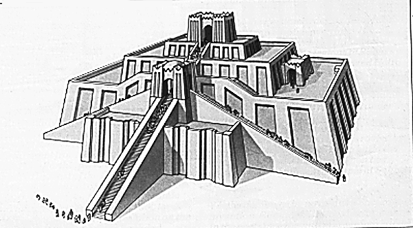 Illustration of a ziggurat