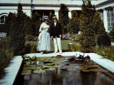 Woodrow and daughter Edith Wilson in a rare color photo of the White House East Garden which daughter Margaret helped facilitate after her Mother's death. photo: Library of Congress