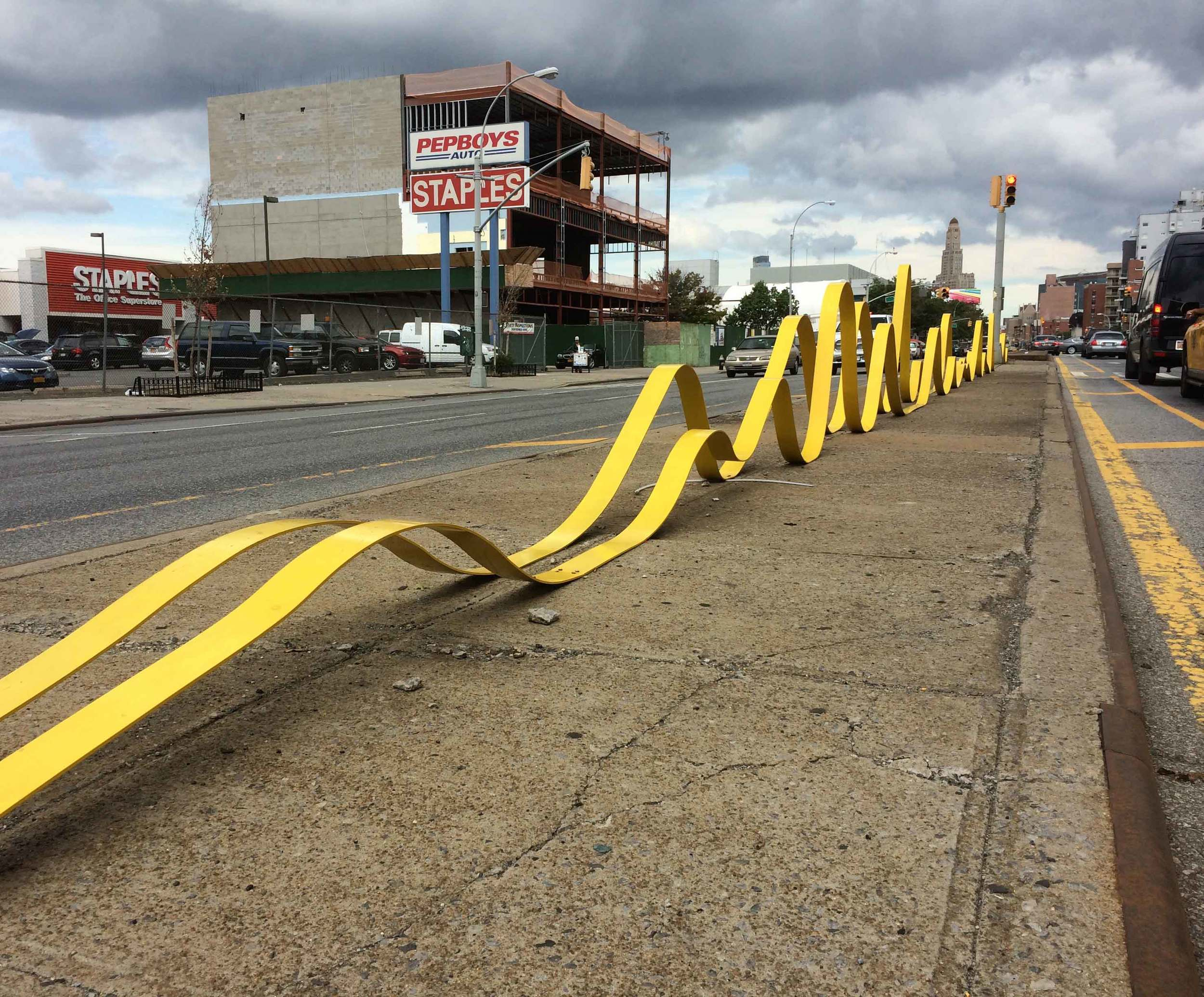 Crossing a double yellow line is not possible here.  ©ToddHaimanLandscapeDesign2014
