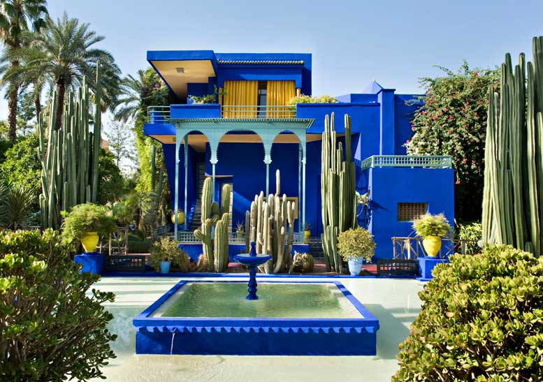 The Marjorelle garden in Marrakesh, Morocco is a garden bathed in    cerulean blue   . Designed by artist Jacques Marjorelle, this garden became the home of Yves St. Laurent. After St. Laurent's and his partner's passing it became the Islamic Art Museum and Botanical Garden. photo©Nicolas Mathéus, thedesignphile.com