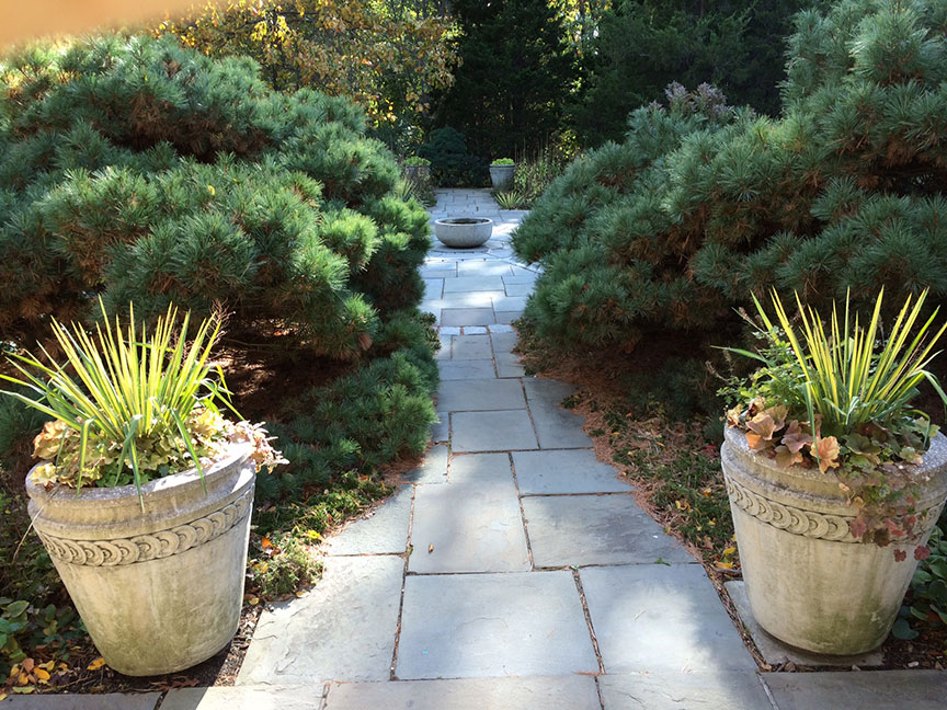 These beautiful planters found at Wave Hill Gardens in Bronx, New York are made of stone which is a porous material.