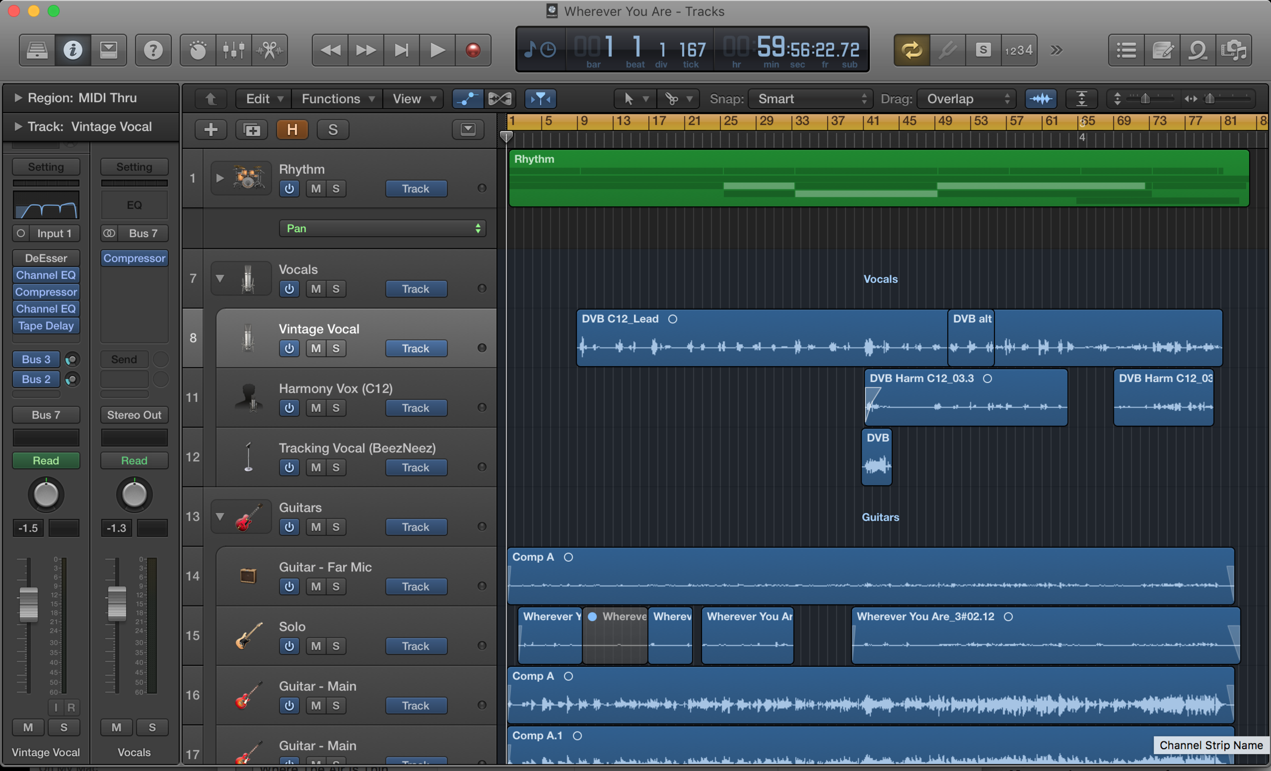 Here is a peek at what 'Wherever You Are' looks like in Logic Pro X.