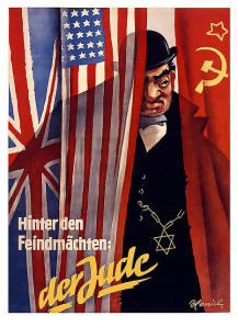 """(  poster reads, """"Behind the  enemy powers: the Jew"""")"""