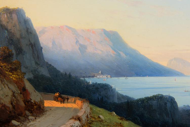 """Ivan Aivazovsky, """"Ayu Dag in the Crimea"""" 1863 -  $ 156,250  (7"""" x 9 3/4"""")"""
