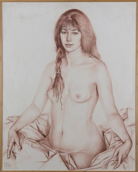 Rudolf Khachatryan, Nude woman on masonite, signed and dated 1986 - $8,125