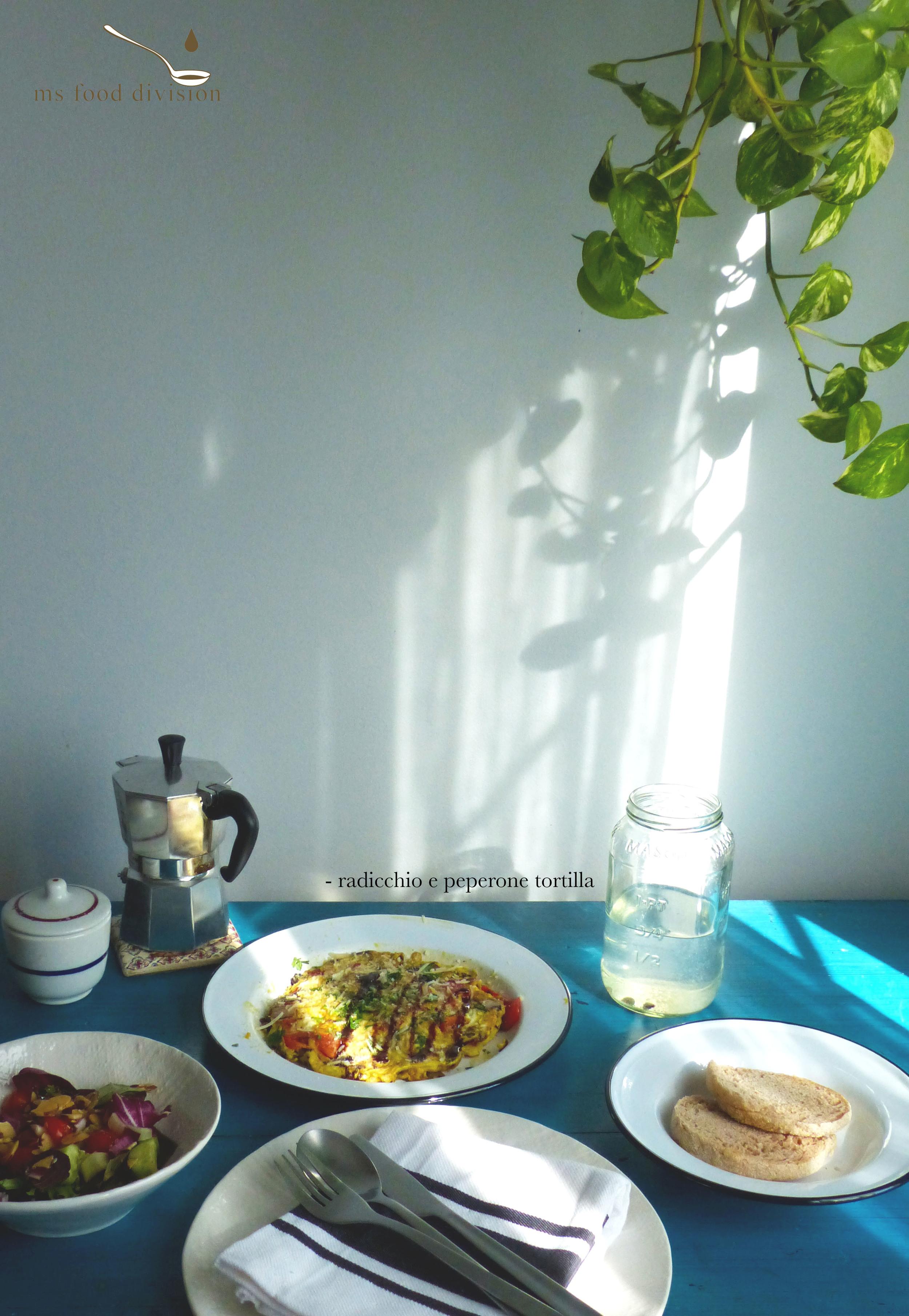 radicchio e peperone tortilla