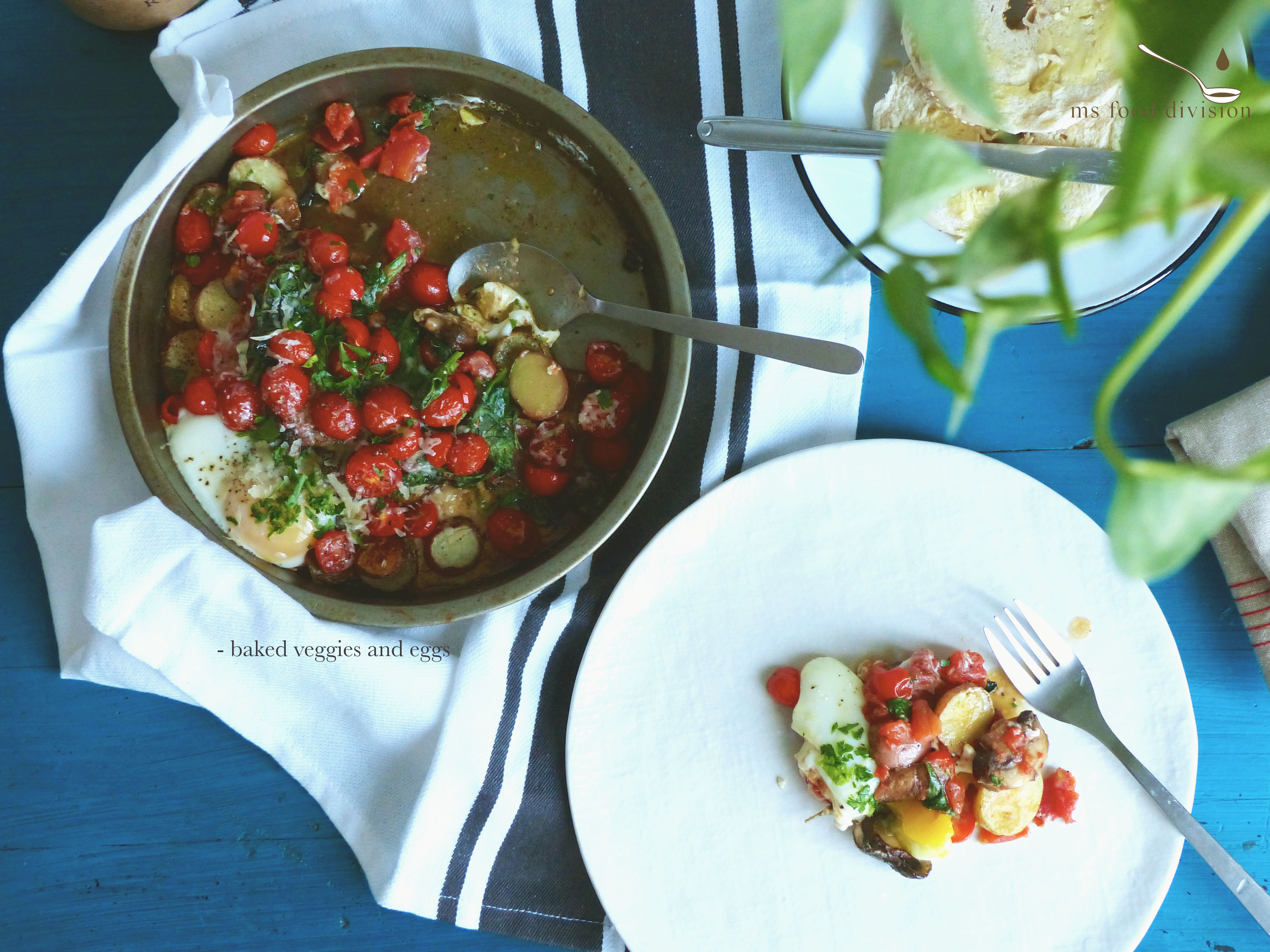 This dish is perfect for two persons.     Ingredients:    5-6 small potatoes, cut in edible sizes as you like  a handful of cherry tomatoes, halved  a bowl of spinach  5-6 leftover mushrooms, chopped   a handful of fresh parsley  1/2 can of diced tomato, dilute it with 1/4 cup of water  2 eggs  2 cloves of garlic, chopped  1/4 glass of white wine  grated parmesan  a sprig of sage, chopped  extra-virgin olive oil   Instructions:  1) Preheat the oven at 380°F  2) Drizzle some oil on the baking tray, add potatoes, sage, and season  3) Heat up a frying pan with oil, add garlic, let it cook for a couple minutes in medium heat  4) Add mushrooms and a splash of white wine; cook for 3-5 minutes  5) Add spinach and cook for less than a minute, season and set aside  6) Remove the potatoes from the oven after 15 minutes and add the cooked mushroom and spinach on to potatoes 7) Add the watery chopped tomatoes with the fresh cherry tomatoes and return to bake in the oven for another 10 minutes; season  8) Crack two eggs on top of the veggies, season, and bake for another 5 minutes.  9) Garnish with parmesan and fresh parsley and ready to serve.