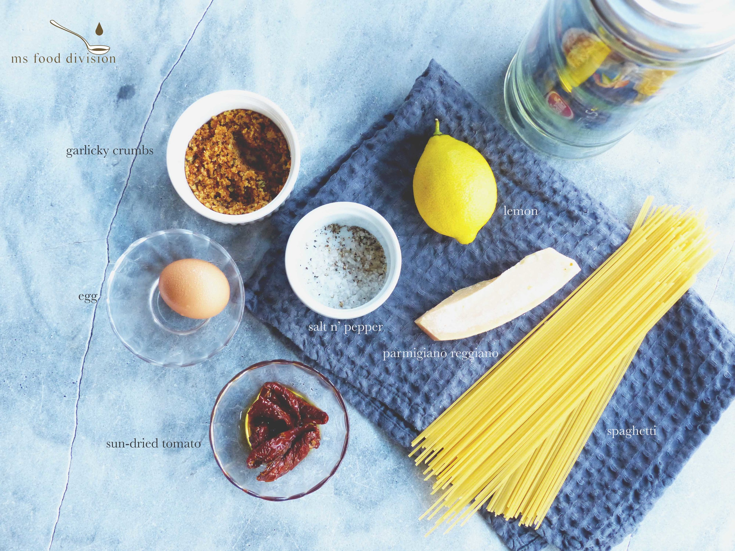 Ingredient list for ms carbonara :)   2-3 sun-dried tomatoes, chopped  1 egg yolk, seasoned and add 1 tbsp grated parmesan  1 tbsp parmesan (parmigianno reggiano)   1/2 lemon zest    1 tbsp garlicky breadcrumbs    1 ladle vegetable soup stock* (or you can use pasta water)    100g spaghetti, cooked according to the package label in salt water, remove from water 1 minute before it's cooked    extra-virgin olive oil