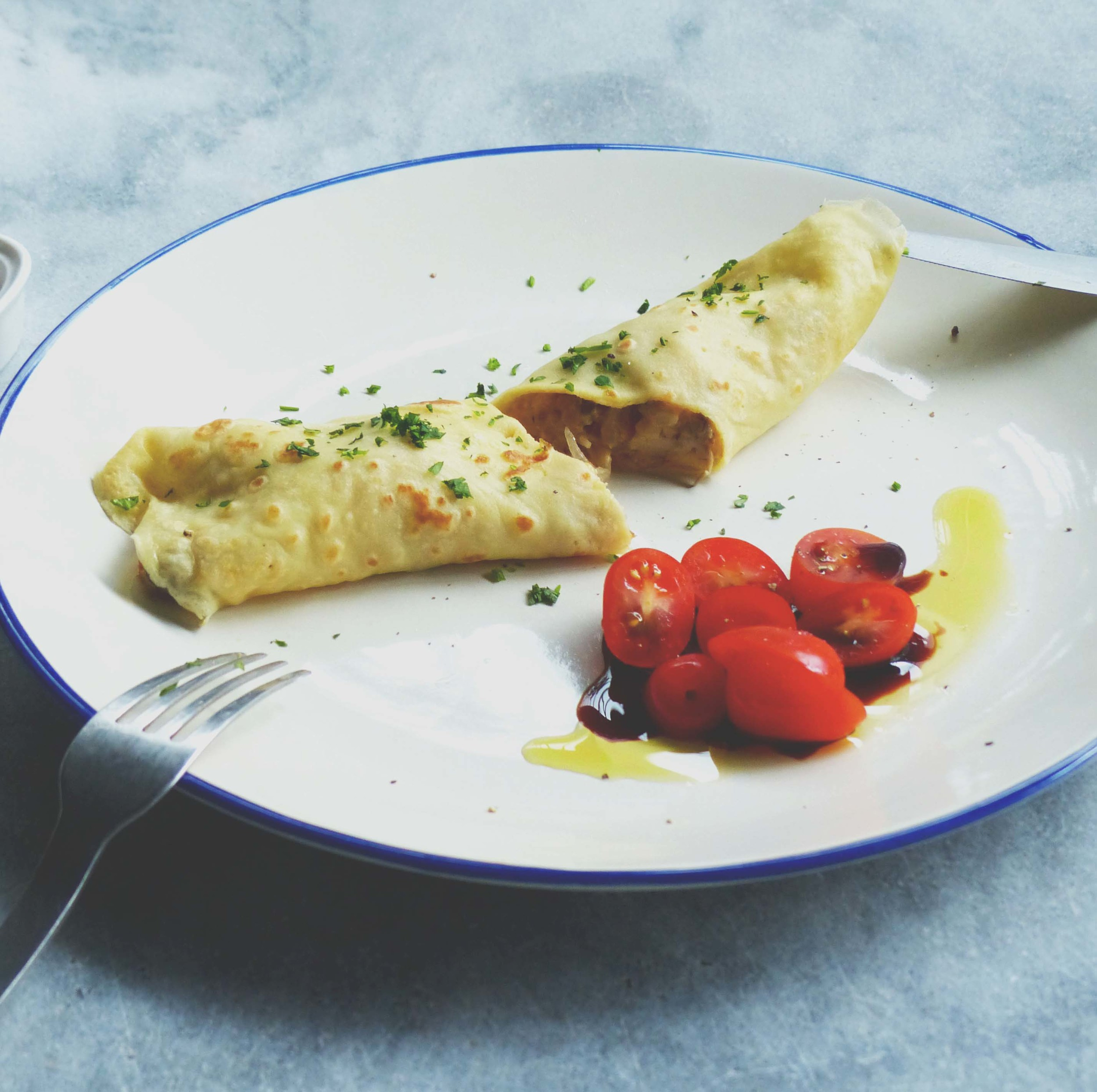 easy homemade crepe - an excellent munchies for the kids.
