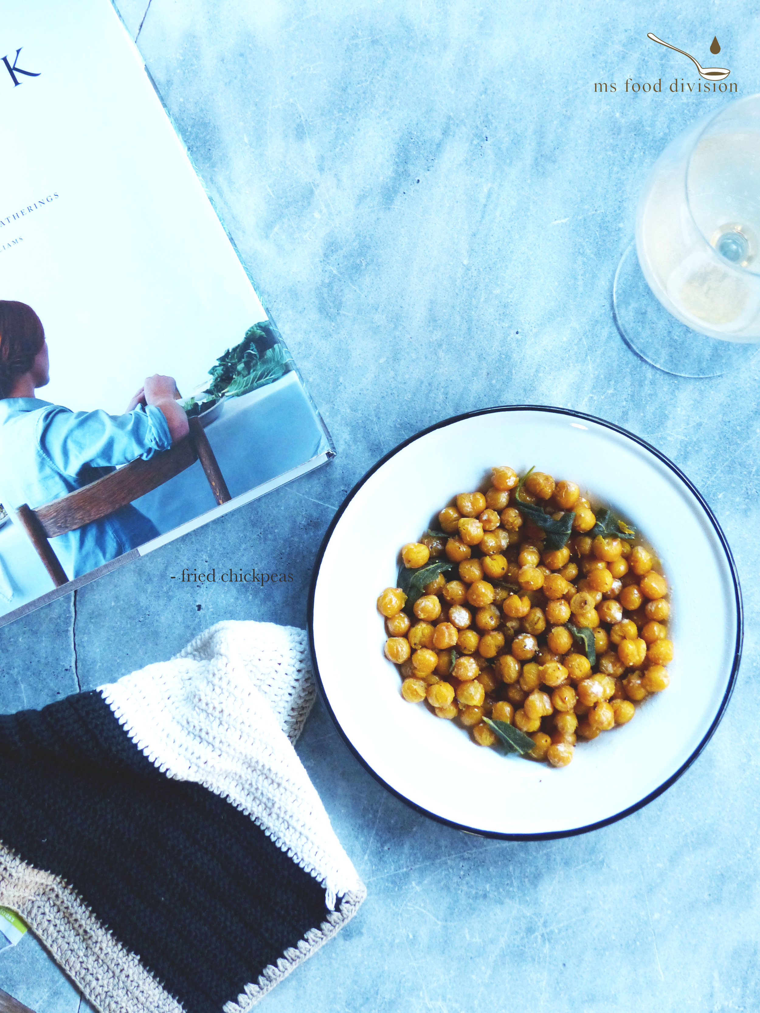 Fried chickpeas are super easy to make.  The only thing that needs to be done ahead of time is to soak the chickpeas overnight in cold water.  Then pat dry before you fry them in oil with sage.  Season and voilà.